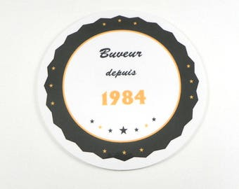 Men gift idea: customizable round coaster drinker since 1984 personalized gift