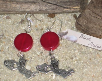 Earrings fuchsia pearl and angel charm