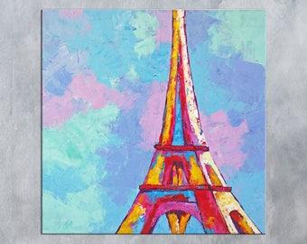 Paris Wall art, Paris Decor, Eiffel Tower Decor, Paris Painting, Eiffel Tower art, Painting on Canvas, Living room decor, Paris wall decor