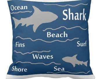 Choose your color shark pillow 16x16 square toss pillow beach theme ocean fish surf sharks bedding