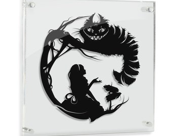 Alice in Wonderland Cheshire Cat Storybook Fairy Tale Papercut We're All Mad Here Lewis Carroll Fantasy Art Geek Gift Disney Art FRAMED