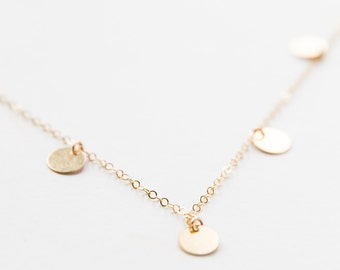 Gold Filled Multi Disc Necklace