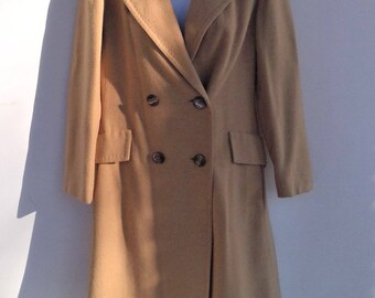 NEW PRICE - Vintage 100% Camel Hair 3/4 Length Double Breasted Maxi Coat - Size Small