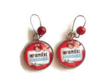 "Earrings cabochon sleeper / nurse / ""Nurse FORMIDABLE"" / gift / birthday/thank you/Christmas"