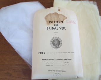 1950s Bridal Veil Pattern and Bridal Illusion Fabric - Vintage by Heathcoat's Bridal  - For Fingertip or Ballerina Length Veil