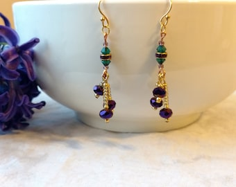 Violet and Emerald Earrings