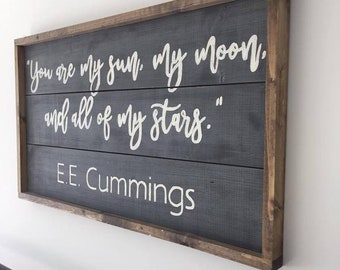 E.E. Cummings Quote sign