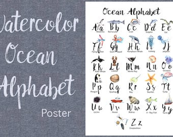 Watercolor Ocean Alphabet Poster