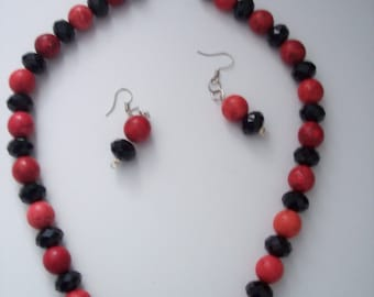 Hand made Red Jasper and Black Onyx  Necklace set