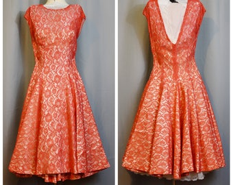 Red Lace Illusion 50s Party Dress with Full Circle Skirt