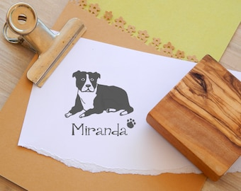 Charity Stamp Custom Relaxing Staffie/Staffordshire Bull Terrier Olive Wood Stamp