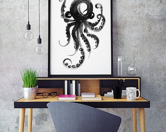 Octopus Art Print Watercolor Painting Black and White Wall Art Sea Life Print Sea Animal Art Ink Drawing Nautical Decor Bathroom Sign