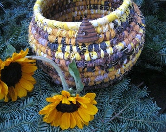 BEE HIVE textile art BASKET Bowl