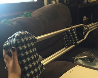 Padded Crutch Wraps Set | Houndstooth Black & White Crutch Pads | Crutch Tote | Toe Bootie Volleyball Cast Sock | Washable Crutch Pads