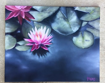 Lotus & Lily Pads - Oil on Canvas