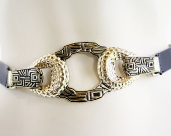 Vintage 90's Leather and Silver / Gold Metal CHICO's Ladies' Retro Black Leather Belt