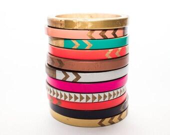 SINGLE Skinny Bangle- CUSTOM/ Wood Bracelet/ Pick Your Pattern/ Pick Your Color/ xs-xl