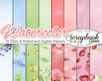 """Watercolor Flowers Papers Set 1, 12"""" x 12"""", High Quality 300 dpi JPEG files, Instant Download spring leaves petals flowers sky elegant"""