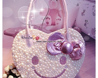 Stylish and Elegant HEART SHAPED bag with SMILEY made with Crystals and Pearls