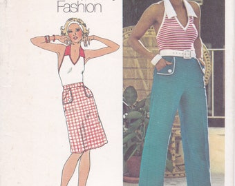 FREE US SHIP Simplicity 6462 Vintage Retro 1970's 70's Sewing Pattern JIffy Halter High Waist Wide Leg Pants Skirt Size 12 Bust 34 Uncut