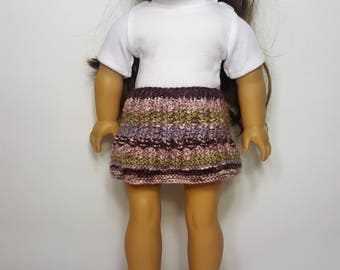 """Purple/Pink Knit Doll Skirt - Hand-made to fit like American Girl Doll Clothes - 18"""" Doll Clothes - Knit Doll Clothes"""