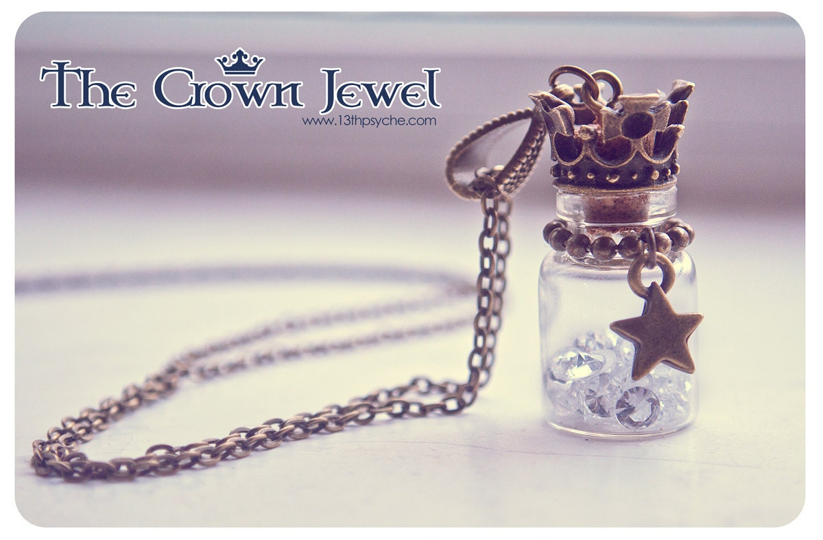 Crown bottle necklace miniaure bottle jewelry glass vial zoom mozeypictures Choice Image