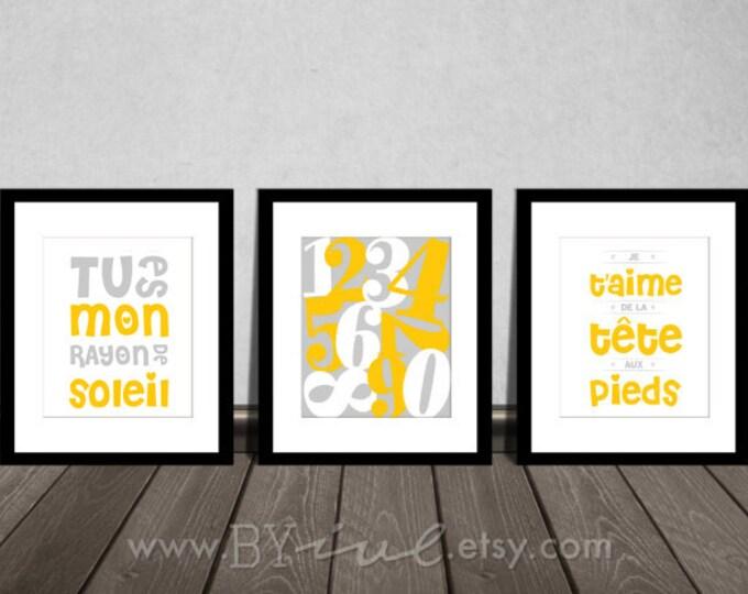 Nursery french quote printable, Set of three, Numbers art, Tu es mon rayon de soleil, Je t'aime de la tête aux pieds, DIY Printable.