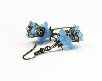 Newport, Vintage Floral Inspired Earrings, Blue Lucite Flowers