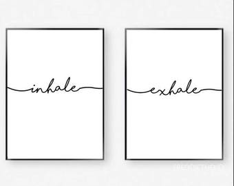 Inhale Exhale Typography a4 Print duo set