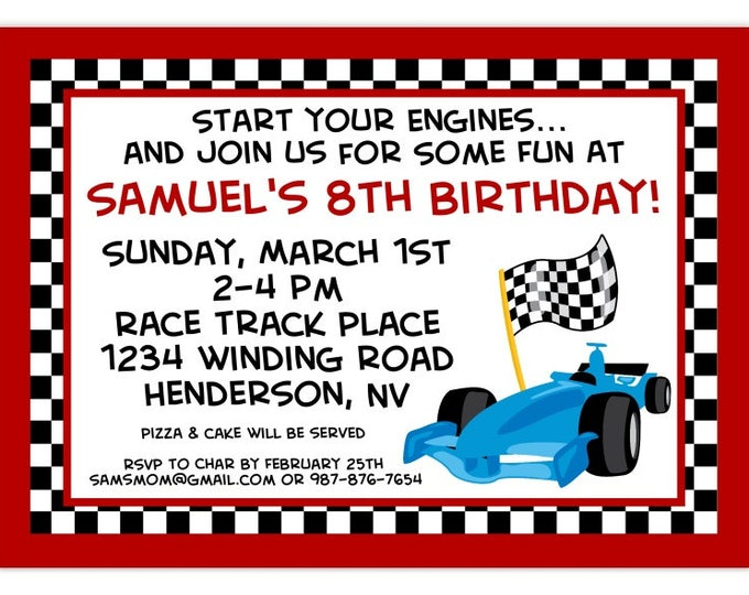 Racing Car Invite, Race Track Birthday Invitation, Red with Black and White Check, Digital Design - 4x6 or 5x7 size  - YOU Print