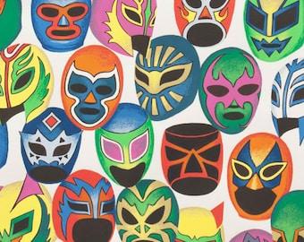 Lucha Libre Fabric By Alexander Henry, Mascaras de Peleas, Out of Print, by the Quarter Yard, Fat Quarter, Pink, Green, Blue, Purple