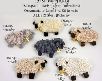 TSKK04SET - A Flock Of Sheep Brooches/Ornaments Kit (Makes ALL SIX Versions of my little sheep!)