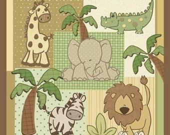 Kimba Baby Crib Quilt - Jungle Safari Animals - Baby Blanket - Toddler Lap Quilt