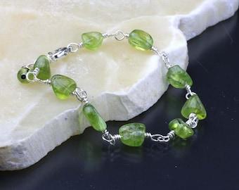 Green Peridot Gemstone Bracelet, August Birthstone, Peridot Bracelet, Gift for Her, Green Bracelet, Sterling Silver, August Birthday Gift