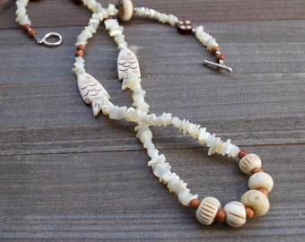 Fish Heshi Necklace Seashell Carved Bone & Vintage Wooden Beads Lisa Kraft Original Design