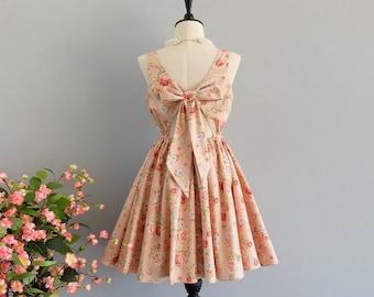 Pink party dress prom dress pink bridesmaid dress floral sundress summer dress party vintage dress short bridesmaid dress