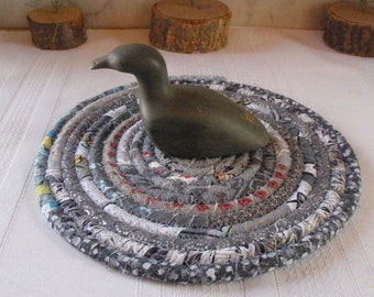 Bohemian Coiled Gray Mat, Hot Pad, Trivet - Handmade by Me