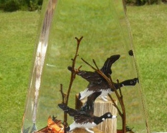 Vintage Mid Century Lucite FLYING GEESE Art Sculpture Hunters Dream