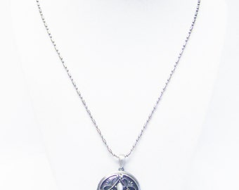 Round Brushed Silver Plated Locket Pendant Necklace