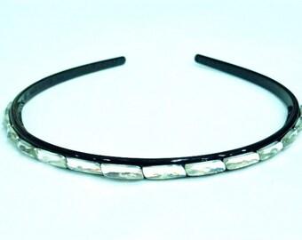 Headband beaded end - silver
