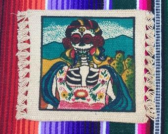 Day of the Dead Coaster Set of 4 Dia de Los Muertos - La Catrina - Dancing Skeletons