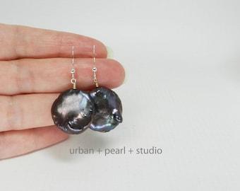 Black Pearl Earrings Large Pearl Dangles Coin Pearl Earrings Bridal Jewelry BCP20