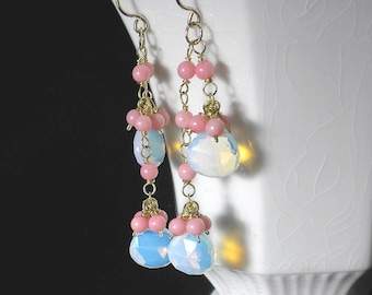 Pink Coral Earrings Opalite Earrings Coral Dangle Earrings Pink Earrings 14kt Gold Filled