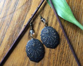 earrings,filigree vintage drop earrings, rutilated quartz
