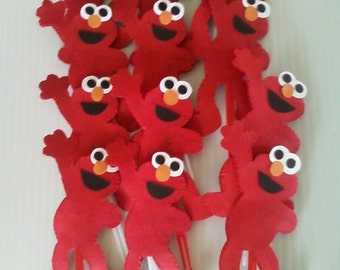 ELMO Cupcake Toppers/Food Picks (Set of 12) -- Perfect for that Sesame Street Party