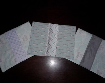 """Set of 3 Baby Girl Burp Cloths with Mint Green & Gray """"Hello Beautiful"""" and Feathers"""