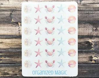 beach planner stickers, sand dollar stickers, crab stickers, seashell stickers, beach planner accessories