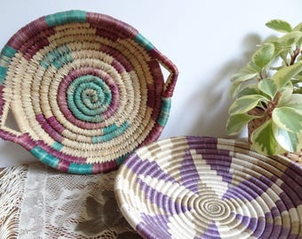 Pair of Purple Toned Woven Wall Baskets/Trays