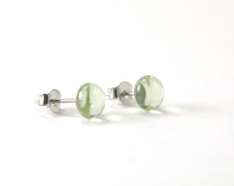 Light olivine green fused glass stud earrings, transparent glass with surgical steel earring posts