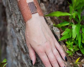 Copper Wide Wire Bracelet - Wire Knit Bracelet - Cuff Wire Bracelet - Wife's Gift - Gift for Her